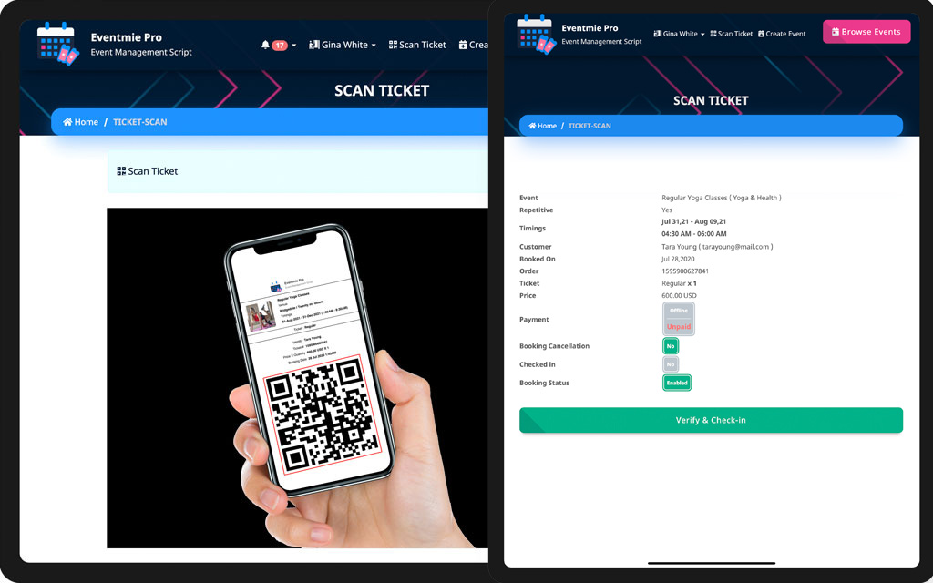 eventmie-Integrated Ticket Scanner