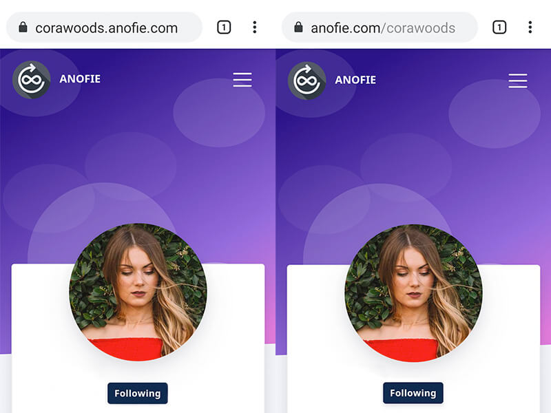 anofie-Customize Profile Links